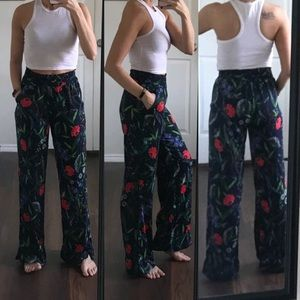 Aerie high waisted satin floral wide leg pants